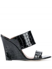 PARIS TEXAS Coconut wedge 100mm sandals | croc embossed-leather sandal | wedged mule