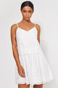 The Fashion Bible PARISIA WHITE BRODERIE ANGLAISE SLIP DRESS | cami strap summer dresses