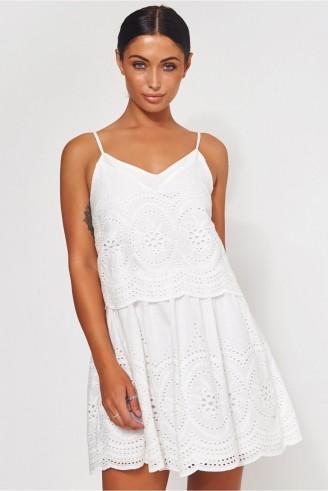 The Fashion Bible PARISIA WHITE BRODERIE ANGLAISE SLIP DRESS | cami strap summer dresses