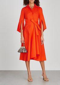 PAULE KA Orange stretch-cotton shirt dress