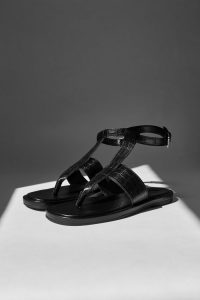 TOPSHOP PEACHY Black Leather Sandals