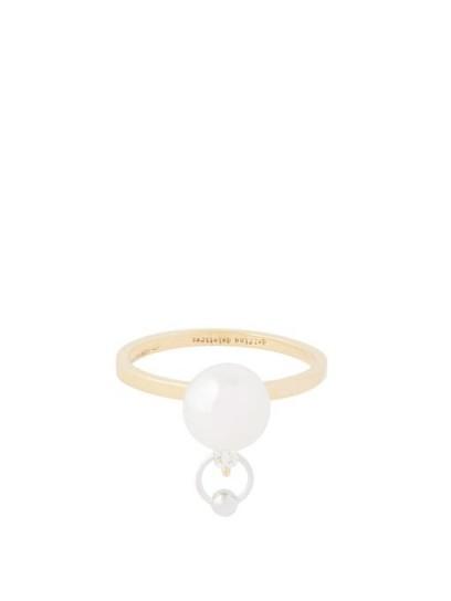 DELFINA DELETTREZ Pearl, diamond & 18kt gold piercing ring / freshwater pearls