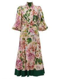 DOLCE & GABBANA Peony-print silk-blend georgette midi dress ~ high neck romantic look dresses ~ feminine Italian clothing