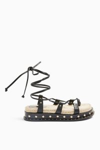 Topshop PEPPER Black Leather Sandals | gladiator style flat sandal