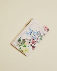TED BAKER LIBBIEE Pergola leather zip cardholder / flower print cardholders
