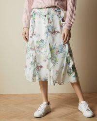 TED BAKER LURISSA Pergola printed midi skirt / floaty ruffle detail skirts