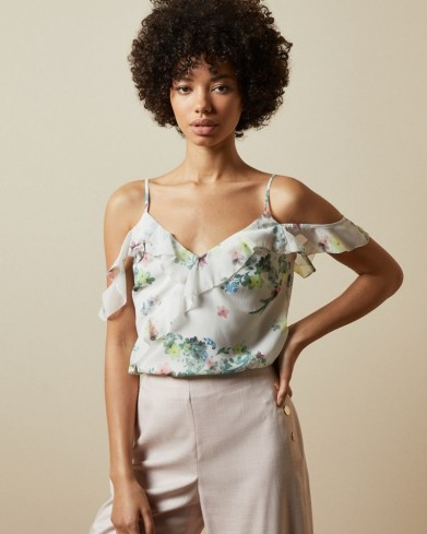 TED BAKER MEEYAH Pergola ruffle detail cami / cold shoulder camisole