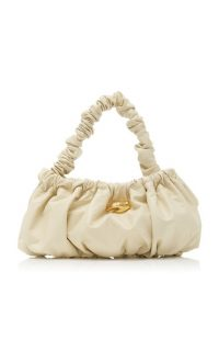 Marargent Pierre Ruched Leather Top Handle Bag White / gathered handbag