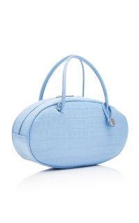 Hayward Pill Box Croc-Effect Leather Bag Blue / small oval handbags