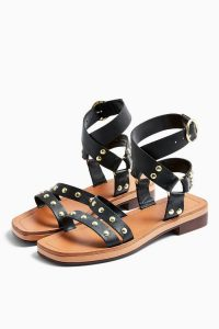 Topshop PILOT Black Leather Stud Sandals | studded summer shoes
