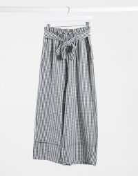 Pimkie wide leg trouser in black gingham / summer tie waist pants