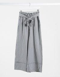 Pimkie wide leg trouser in black gingham / summer tie waist pants