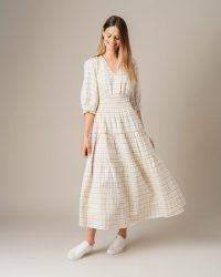 JIGSAW PIN CHECK TIERED LINEN DRESS / voluminous summer dresses