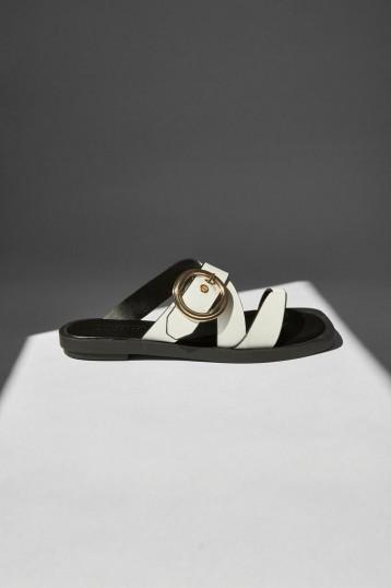 TOPSHOP PINE White Buckle Sandals