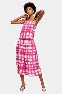 TOPSHOP Pink Check Tie Tiered Drop Waist Midi Dress / drop waist dresses