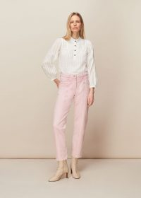 WHISTLES EMMA PANELLED JEAN / pink denim jeans