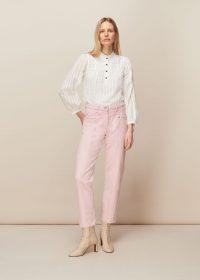 WHISTLES EMMA PANELLED JEAN / pink denim jeans