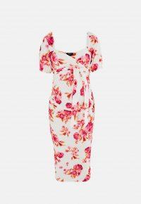 MISSGUIDED pink floral print maternity wrap milkmaid midi dress / pregnancy fashion