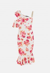 MISSGUIDED pink floral print one shoulder maternity midi dress