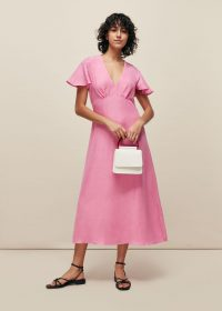 WHISTLES FRILL SLEEVE MIDI DRESS PINK / feminine look summer dresses