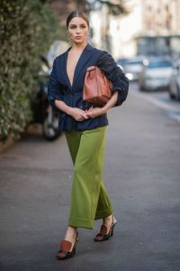 Blue ruched sleeve jacket, green wide leg pants and tan leather accessories…perfect!