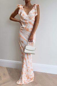 PRETTY LAVISH PIPER MAXI TIE DRESS CORAL TIE DYE – summer parties – occasion dresses