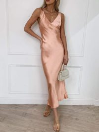PRETTY LAVISH PIPER MIDI DRESS MATTE PEACH PINK – slinky vintage style evening dresses