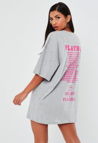 playboy x missguided grey graphic t shirt dress – printed tee dresses