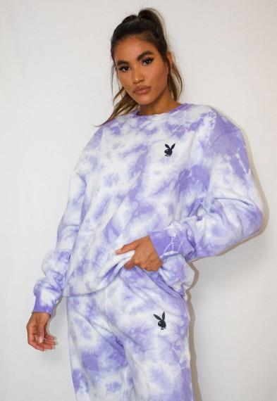 playboy x missguided lilac tie dye oversized crew neck sweatshirt / bunny logo sweat top