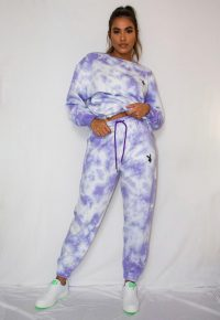 playboy x missguided lilac tie dye oversized joggers