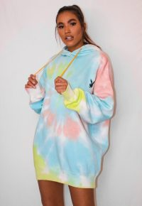 playboy x missguided pastel tie dye oversized hoodie dress / multicoloured hoodies / bunny logo dresses