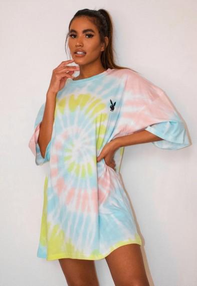 playboy x missguided pastel tie dye oversized t shirt dress / multicoloured dresses