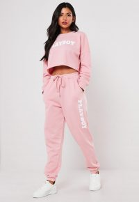 playboy x missguided tall pink loungewear joggers / logo jogging bottoms
