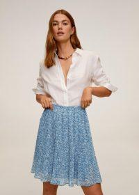 MANGO MAURI Pleated floral skirt blue
