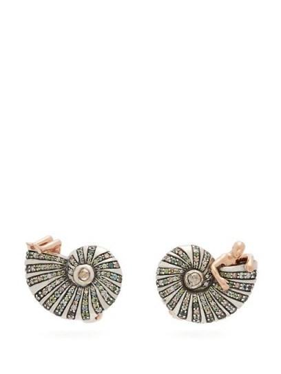 BIBI VAN DER VELDEN Poseidon's Getaway diamond & 18kt gold earrings / sea inspired jewellery - flipped