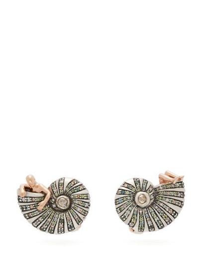 BIBI VAN DER VELDEN Poseidon's Getaway diamond & 18kt gold earrings / sea inspired jewellery