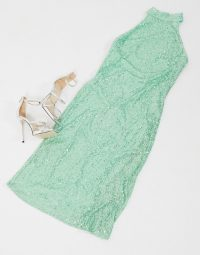 Pretty Lavish high neck sequin midi dress in mint – glam going out dresses