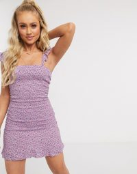 PrettyLittleThing shirred mini dress in lilac floral