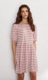 STRADIVARIUS Printed short dress with puff sleeves mauve – gingham summer dresses
