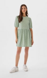 STRADIVARIUS Pastel Green Printed short dress with puff sleeves