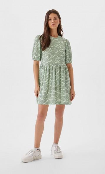 STRADIVARIUS Pastel Green Printed short dress with puff sleeves