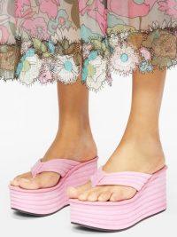 FENDI Promenade pink quilted suede platform sandals ~ summer platforms