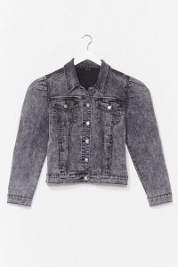 Nasty Gal Puff Shoulder Denim Jacket Grey
