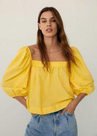 Mango SLEEVES Puff sleeve top in yellow