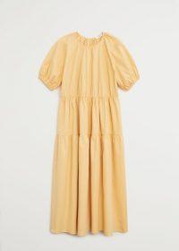 MANGO POPINS Puffed sleeves dress yellow