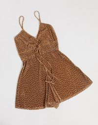 Pull&Bear playsuit in brown polka dot – strappy spot print playsuits