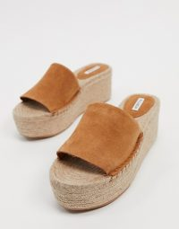 Pull&Bear suede flatform espadrille sandals in tan / summer shoes
