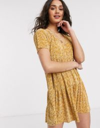 Pull&Bear tiered smock mini dress in yellow floral print