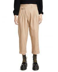 Jennifer Lopez beige asymmetric waist trousers, R13 Cropped Triple-pleat Crossover Pants, on Alex Rodriguez's Instagram, 7 May 2020 | celebrity fashion