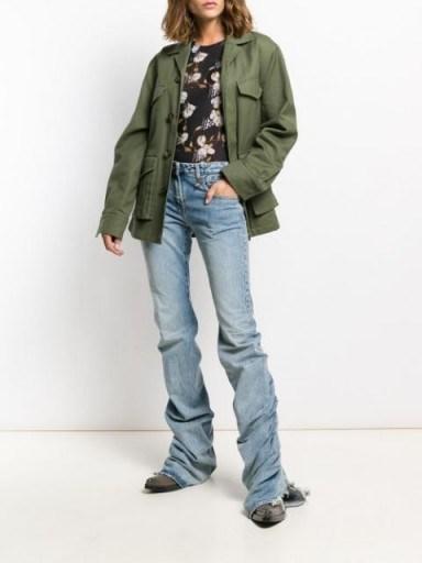 Hailey Bieber longline jeans, R13 gathered hem jeans, seen on Maeve Reilly's Instagram, 30 April 2020   celebrity denim - flipped